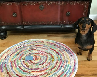 Hand Knotted Round Rag Rug 24 inch - Free Shipping