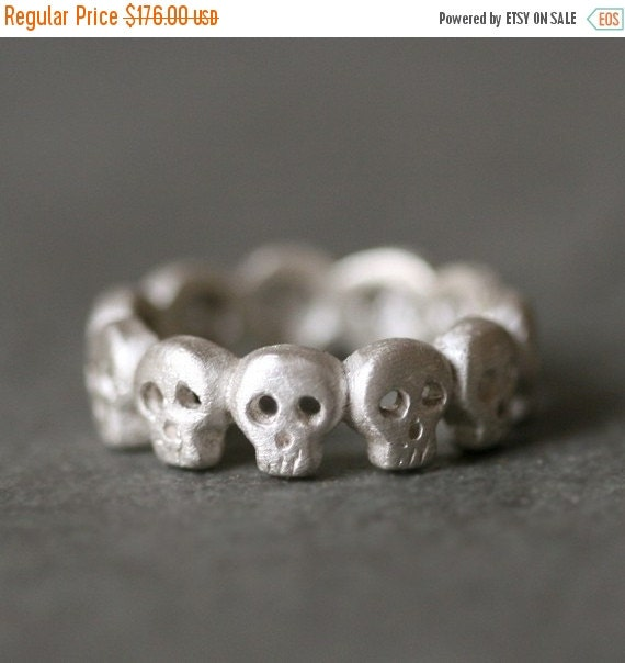 30% OFF WINTER SALE Baby Skull Eternity Band Ring in Sterling Silver Unisex