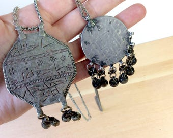 Antique Coin Necklaces with Dangly Bells. Silver Bedouin Pendant Necklaces on Long Chains. Tribal Jewelry. Rustic, Simple, and Old.