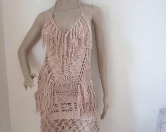 Crochet monokini,  Beige/ tan Crochet dress, Fringe monokini halter,  beach cover up, resort wear, party, gypsy, salsa dancing, customized