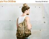 SALE . Canvas Army Rucksack Backpack 70s Vintage 1970s Khaki CAMPING Knapsack Leather Large Outdoors Hiking Traveler Packsack Boyfriend Gift