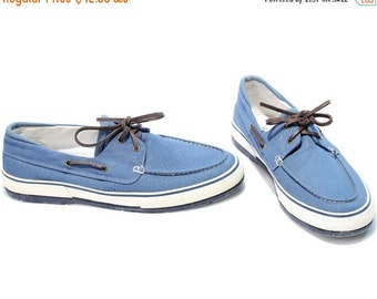 SALE . Vintage Canvas Sneakers 80s Blue White Boat Shoes Top Sider Lace Up Loafers High Quality Footwear sz Eur 44, Us men 10 Uk 9 5