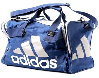ADIDAS Duffel Bag 80s Vintage Luggage Sports Travel Duffle Holdall Sports Active Street Wear 1980s Athletic Retro Overnight Case Blue