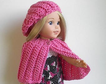 "Pink Crochet Cape and Beret Handmade to fit 14.5"" Wellie Wishers doll"