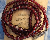 Antique Necklace Bohemian Garnet Beads Graduated Sterling Clasp