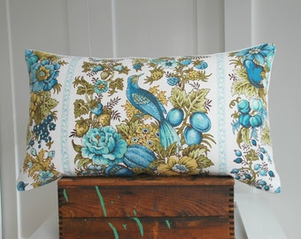 vintage Waverly fabric 14x24 pillow cover by Mary Gamelin / vintage fabric / bird pillow / turquoise / white / spring decor / home decor