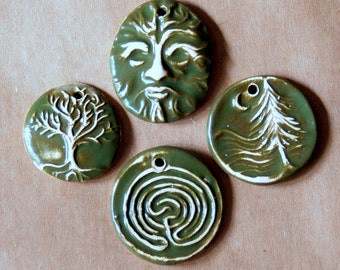 4 Handmade Ceramic Celtic Beads in Forest Evergreen - Greenman and Labyrinth Pendants - Evergreen Pendants - Focal beads - Charms