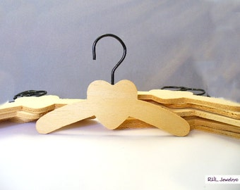 Doll Supplies - Lot of 12 Wood Doll Clothes Hangers with Heart - S-57