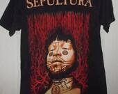 RESERVED-1996 Sepultura ROOTS T-shirt-Blue Grape-sz L Adult Size Large