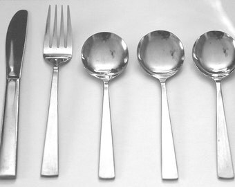 1980s Delta Airlines Stainless Steel Flatware Airline Memorabilia 5 Pieces Vintage Collectible Abco Knife Fork Soup Spoons