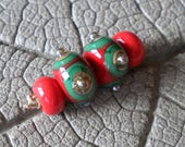 Olive and Pimento Earring Pair Lampwork Beads by Cherie Sra R114 Earring Flameworked Glass Beads Lampwork Green Red Pair Lampwork Spacers