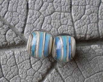 Silver Glass Stripe Encased Pair Lampwork Beads by Cherie Sra R114 Earring pair Flameworked Glass Beads Encased Pair Lampwork Silver Glass
