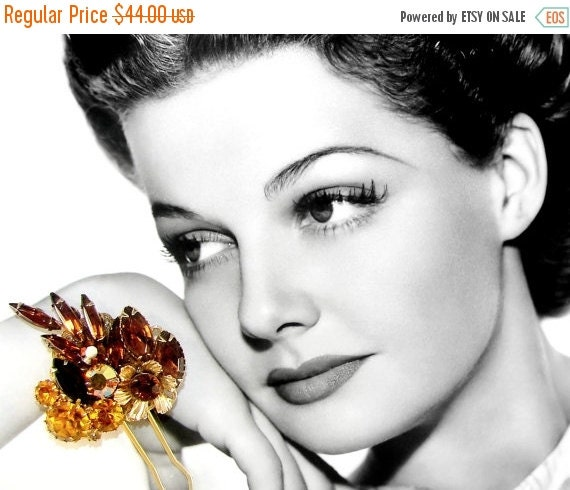20% SALE Amber Rhinestone Hair Comb Vintage Jewelry Hairpiece Wedding Headpiece Bohemian Chic Bride AB Gold Brown Yellow Prom Pageant Hair A
