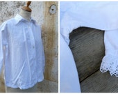 Vintage Antique 1900 French Edwardian large collar handmade embroiderys shirt size S/M