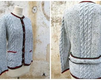 Vintage 1970/70s Folk hand knited cardigan sweater Black forest Tyrol october fest size M