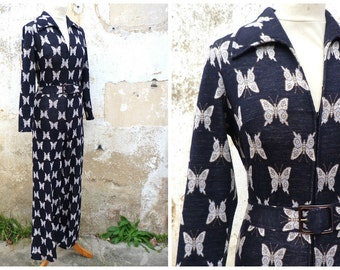 Vintage 1970/70s  super groovy printed jersey Butterflys flared jumpsuit size XS/S