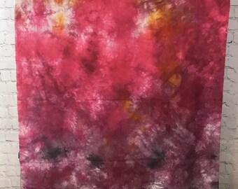 Hand Dyed Fabric - Pink Purple - 1 yard -  Modern Shibori Cotton - 355