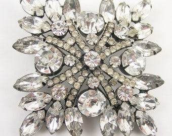 "Large 3"" Kenneth J Lane Rhinestone Brooch"