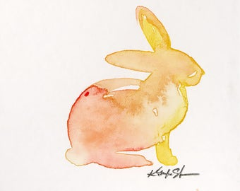 Tiny Bunny Painting, watercolor art, Rabbit Watercolor Painting Easter Minimalist Abstract art Kathy Morton Stanion