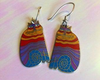 Laurel Birch Enamel Rainbow Cat Earrings