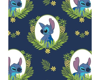 NEW Disney Fabric- Lilo and Stitch collection- Tropical Framed Stitch on Navy, Camelot, yard