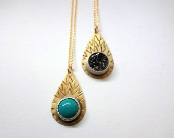 Pattern Drop Pendant with Black Drusy or Turquoise - Hand Stamped Handmade Brass Tear Drop Pendant with 10mm Cabochon