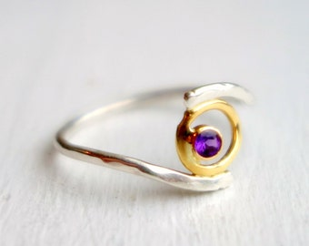 Energy Ring - 18k yellow Gold with Amethyst and Sterling Silver Handmade Energy Plasma Ball of Light Ring