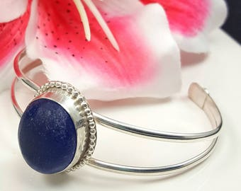 Sea Glass Bracelet Sea Glass Jewelry Cuff Bracelet Cobalt Blue Sea Glass Bracelet Sea Glass Jewelry Sterling Silver Bracelet  B-264