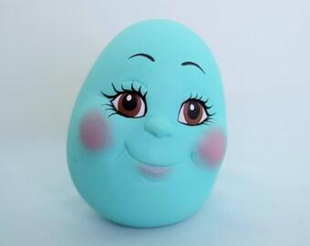 Ceramic Easter Egg -  Easter Eggs with faces  - Modern Decor - Happy Easter - Blue Egg - Gift For Her - Easter basket gift - Happy egg