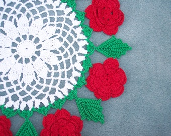 handmade round crochet doily with red roses --  2369