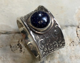 Blue goldstone ring, Boho ring, Silver gold ring, Gypsy ring, unique silver ring for her, Vine ring, wide silver band, nest  - Alive R2445