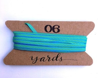 Turquoise Bright Green Dot Ribbon, 6 Yards, Gift Packaging Ribbon, 1/8 inch, Solid with Center Stitches, Fun Party Craft Ribbon