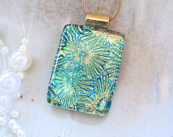 Green Necklace, Gold, Fused Dichroic Pendant, Fused Glass Jewelry, Necklace Included, A7