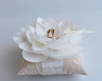 Reserved- Beige Wedding pillow with Lily flower and embroiderings---ring bearer pillow, wedding rings pillow , wedding pillow