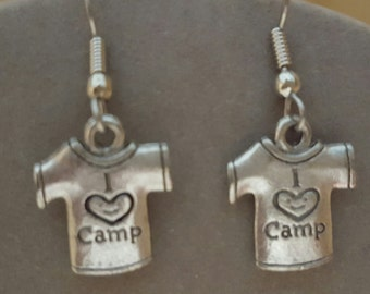 Camping Shirt Earrings Pewter