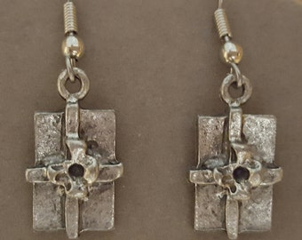 Christmas Present Earrings Pewter - Special Price