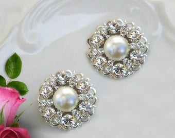 Wedding earrings Pearl Bridal Jewelry bridesmaids earrings post Ivory Pearl Stud earring silver and crystal Bridesmaids Gifts