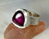 11 carat Pink Tourmaline Ring, Solitaire Ring,  chunky silver , diamond and gemstone  ring,  Huge Tourmaline statement ring