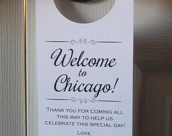 Hotel Door Hangers - CHICAGO - Double Sided for Out of Town Wedding Guests - Do Not Disturb - Destination Wedding