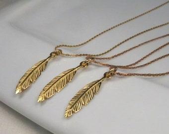 SALE - 3 Best Friend Necklaces, 3 Sister Necklace, Bridesmaid Necklace Set Of 3, Gold Feather Necklace