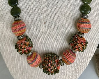 A Necklace - Knitted Bead Necklace