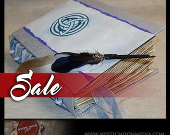 SALE / Celtic Triquetra / Iridescent Ocean Silver / Handmade Journal / Book of Shadows / Wedding Guest Book Alternative  XL- Quill Pen...BOS