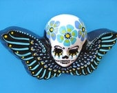 Day of the Dead Winged Sugar Skull with FLOWER GARLAND Wall Hanging - Blue and Violet