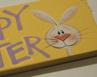 Handpainted and Lettered Easter Bunny Sign