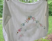 Vintage Embroidered Cotton Tablecloth - White Striped Seersucker Tablecloth - Cutter for Sewing/ Crafting