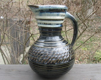 Large Vintage Pottery Pitcher - Black Gray and Brown - CAP