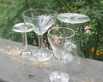 Vintage Stemware - Two Wine Glasses and Two Aperitif/ Cordial Glasses - 1940s Stemware