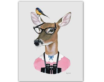 Deer Art - Doe print - Woodland Nursery - Dapper Animals - Berkley Bestiary - Ryan Berkley Illustration - Birdwatching - 5x7