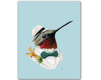 Hummingbird art print by Ryan Berkley 8x10