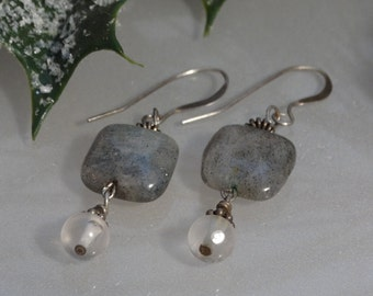 Labradorite pillow beads, crystal dangles and sterling silver finding earrings.